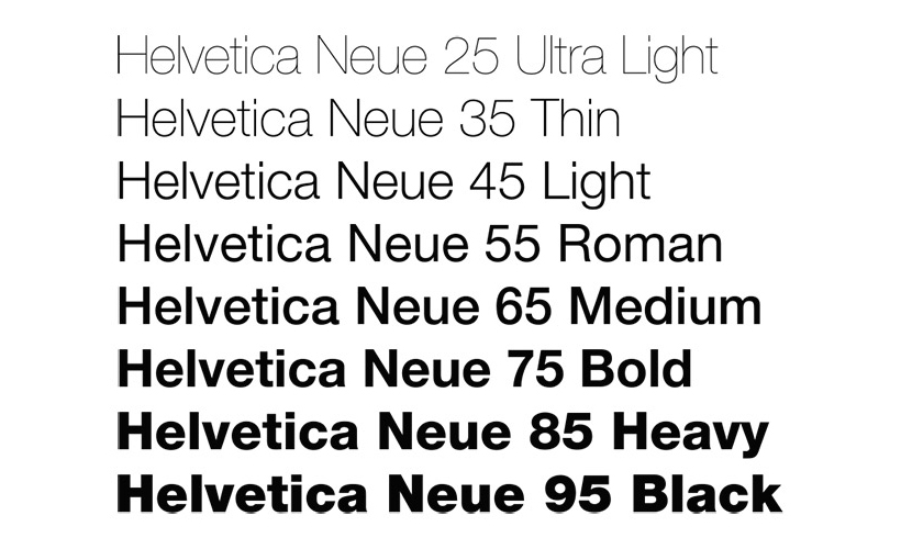 tipografia: família Helvetica Neue