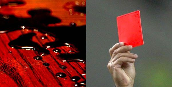 sangue derramado cartão vermelho