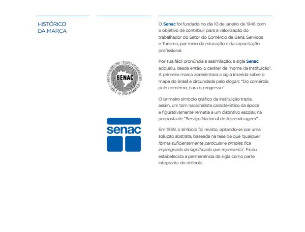 exemplo de aplicação da marca exemplo de história - imagem retirada da página história do manual de marca do senac