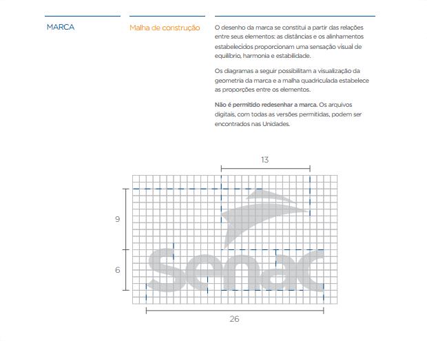 exemplo de aplicação da marca grade de construção - imagem retirada da página de manual de construção do manual de marca do SENAC