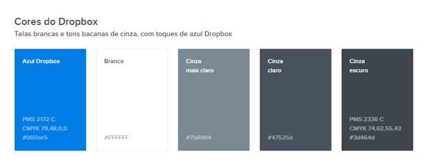exemplo de aplicação da marca cores em adicionais - imagem retirada da página de corse do manual de marca do Dropbox