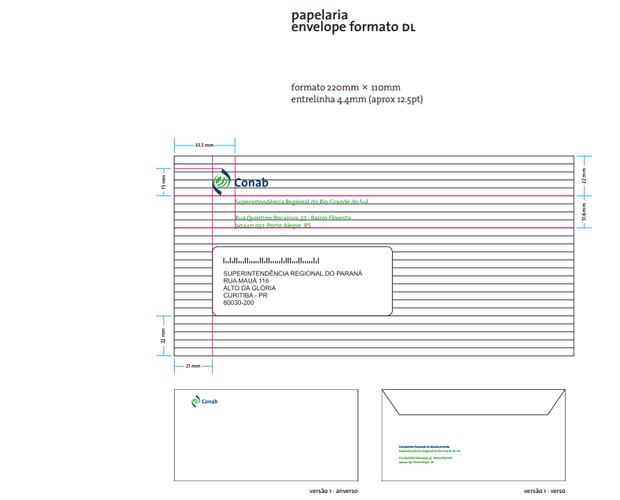 exemplo de envelope - imagem retirada da página de apresentação do manual de marca da UNB - Universidade de Brasília