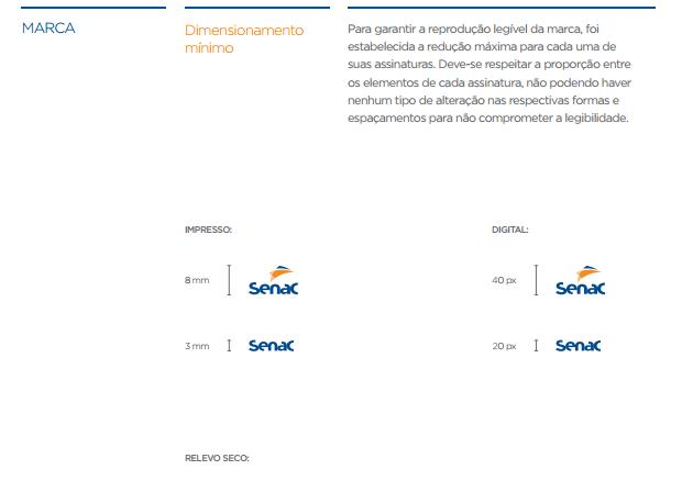 exemplo de aplicação da marca dimensões da marca - imagem retirada da página de marca fia do manual de marca do SENAC