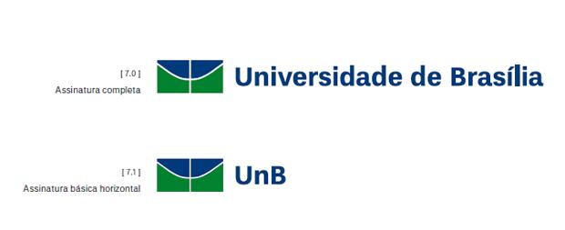 exemplo de aplicação da marca exemplo de variação da marca - imagem retirada da página de apresentação do manual de marca da UNB - Universidade de Brasília