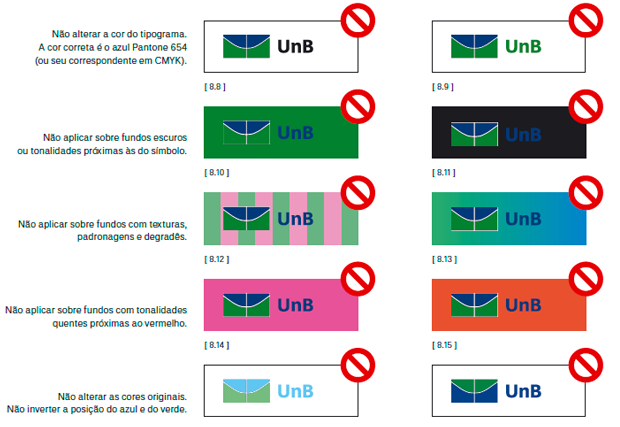 exemplo de proibições da marca - imagem retirada da página de apresentação do manual de marca da UNB - Universidade de Brasília