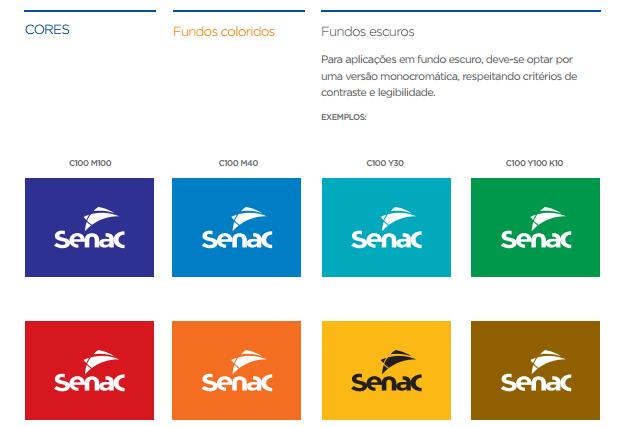 exemplo de aplicação da marca em fundos coloridos -imagem retirada da página de cores do manual de marca do SENAC