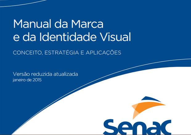 exemplo de aplicação da marca exemplo de capa - imagem retirada da capa do manual de marca do senac