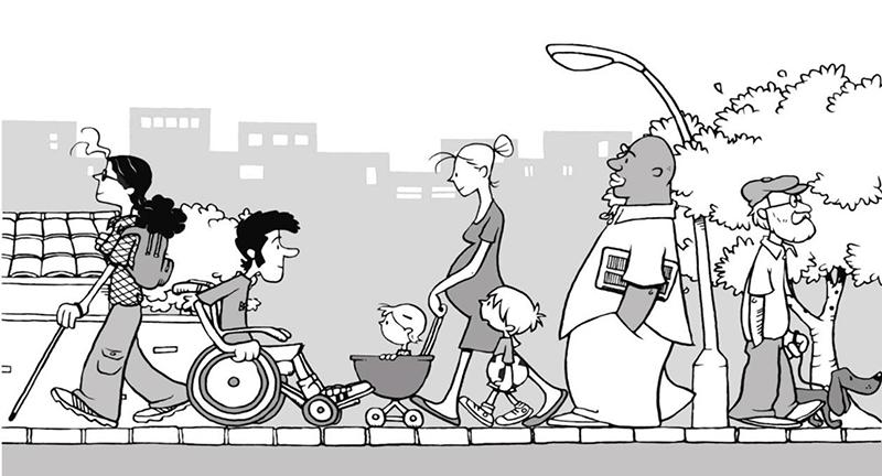 ilustração que demonstra vários tipos de pessoas com necessidades especiais