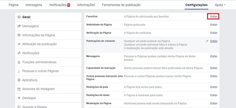 printscreen da tela de configurações de um fan page da rede social facebook