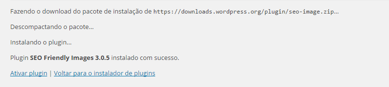 plugins wordpress instalado com sucesso