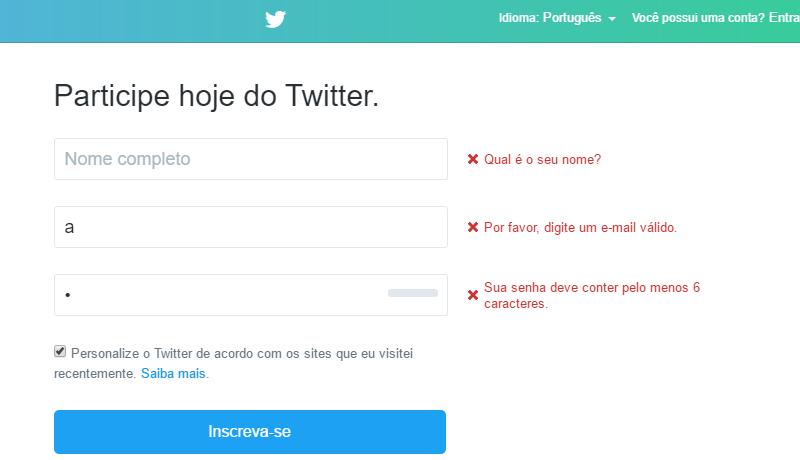 um printscreen do formulário de castrado do site twitter, exemplificando a validação correta