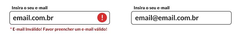 imagem ilustrativa com dois campos de formulários apresentando a forma correta de validação