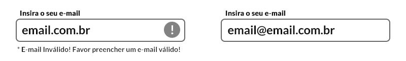 imagem ilustrativa com dois campos de formulários apresentando a forma correta de validação em uma versão sem cores