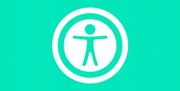 símbolo da acessibilidade na cor branco sobre um fundo verde claro