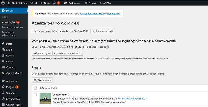 atualizações WordPress