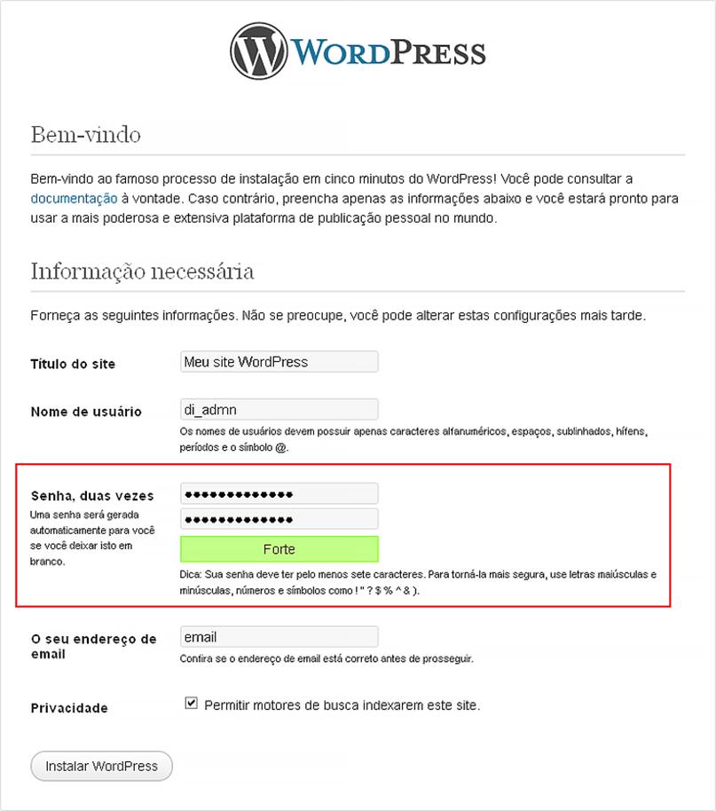 configurar senha WordPress