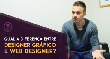 Imagem com uma fotografia do David Arty acomodado em uma cadeira com o texto ao lado: Qual a diferença entre designer gráfico e web designer?