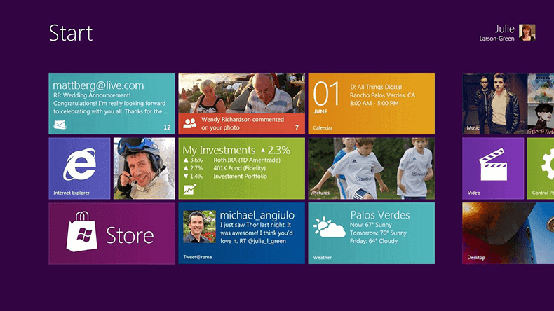 UI Design - imagem da interface do sistema operacional windows 8