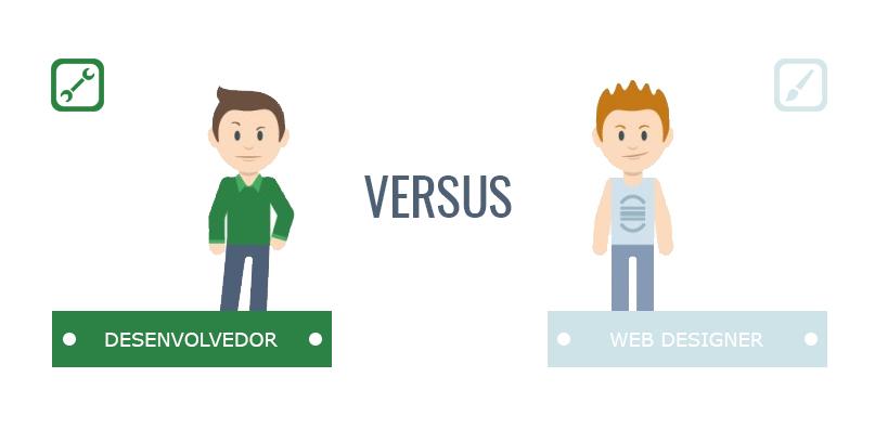 Tudo sobre Web Design - 50 perguntas e respostas - imagem ilustrativa de web designer versus desenvolvedor
