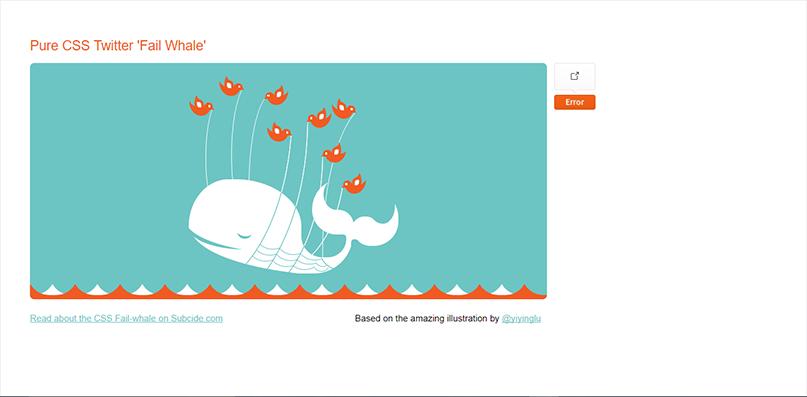 Pure CSS Twitter 'Fail Whale'