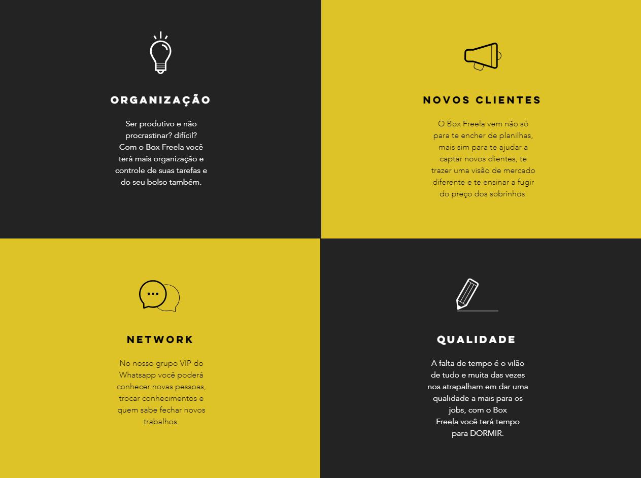 box freela- quadro de benefícios do produto