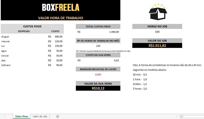 modelo de planilha de valor hora - box freela