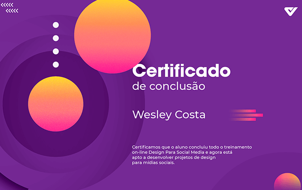 Curso Social Media Design - certificado do curso