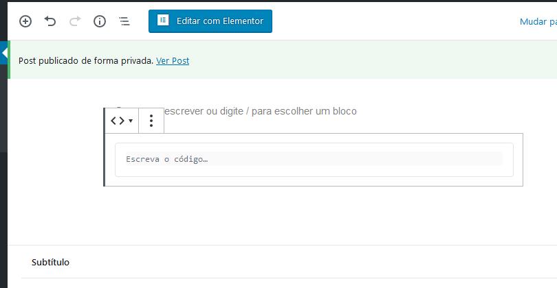 adiciona conteúdo bloco code