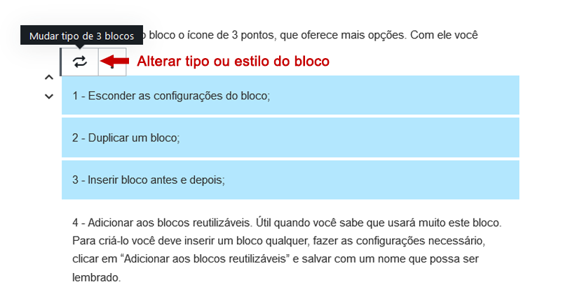 alterar tipo ou estilo do bloco