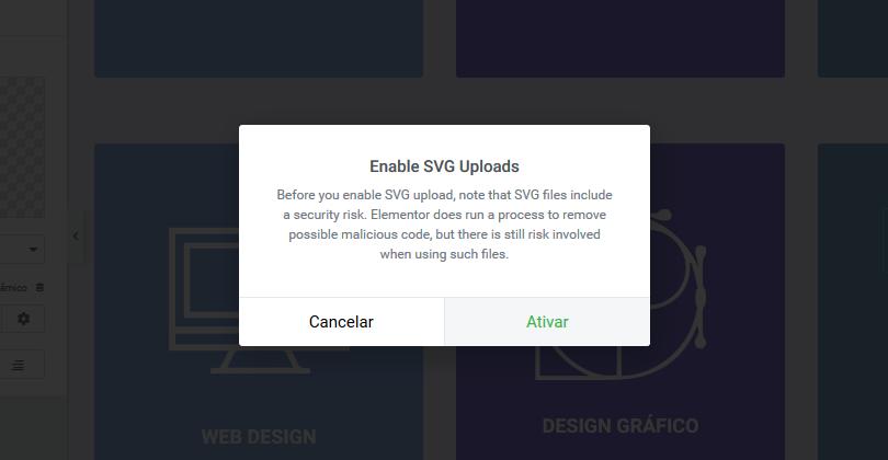 ativção suporte SVG