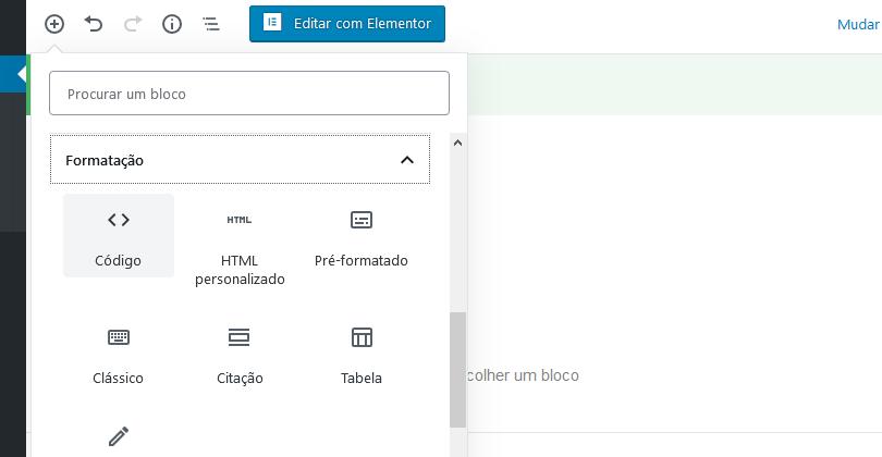 blocos formtação Gutenberg