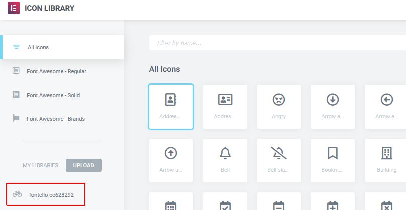 icon library fonte personalizada