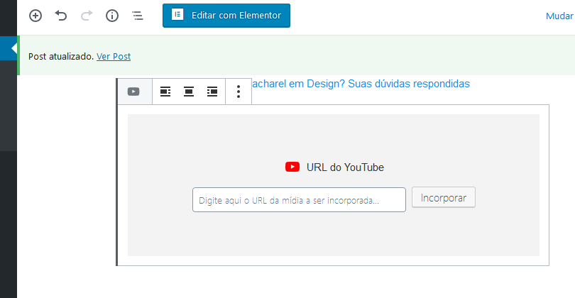 incorporação do vídeo youtube