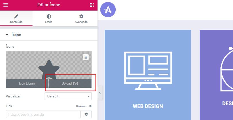 Opção upload SVG