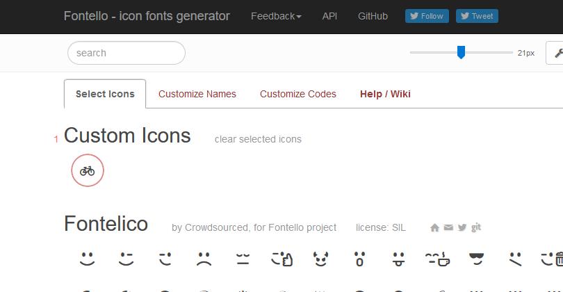 seleciona ícone