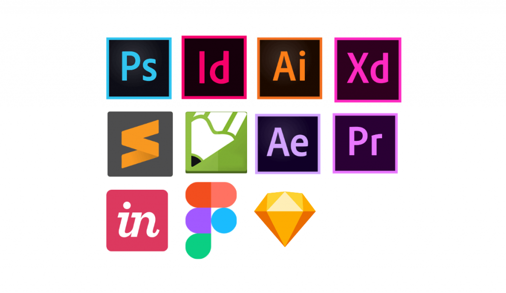 logo das ferramentas Photoshop, Illustrator, Corel Draw, InDesign, After Effects, Premiere, Figma, Adobe XD, Invision, Sketch e Sublime Text.