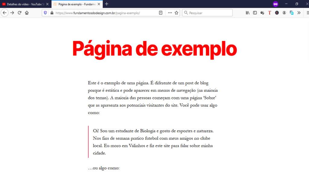 Página com mudança de cor (vermelha) no título da página